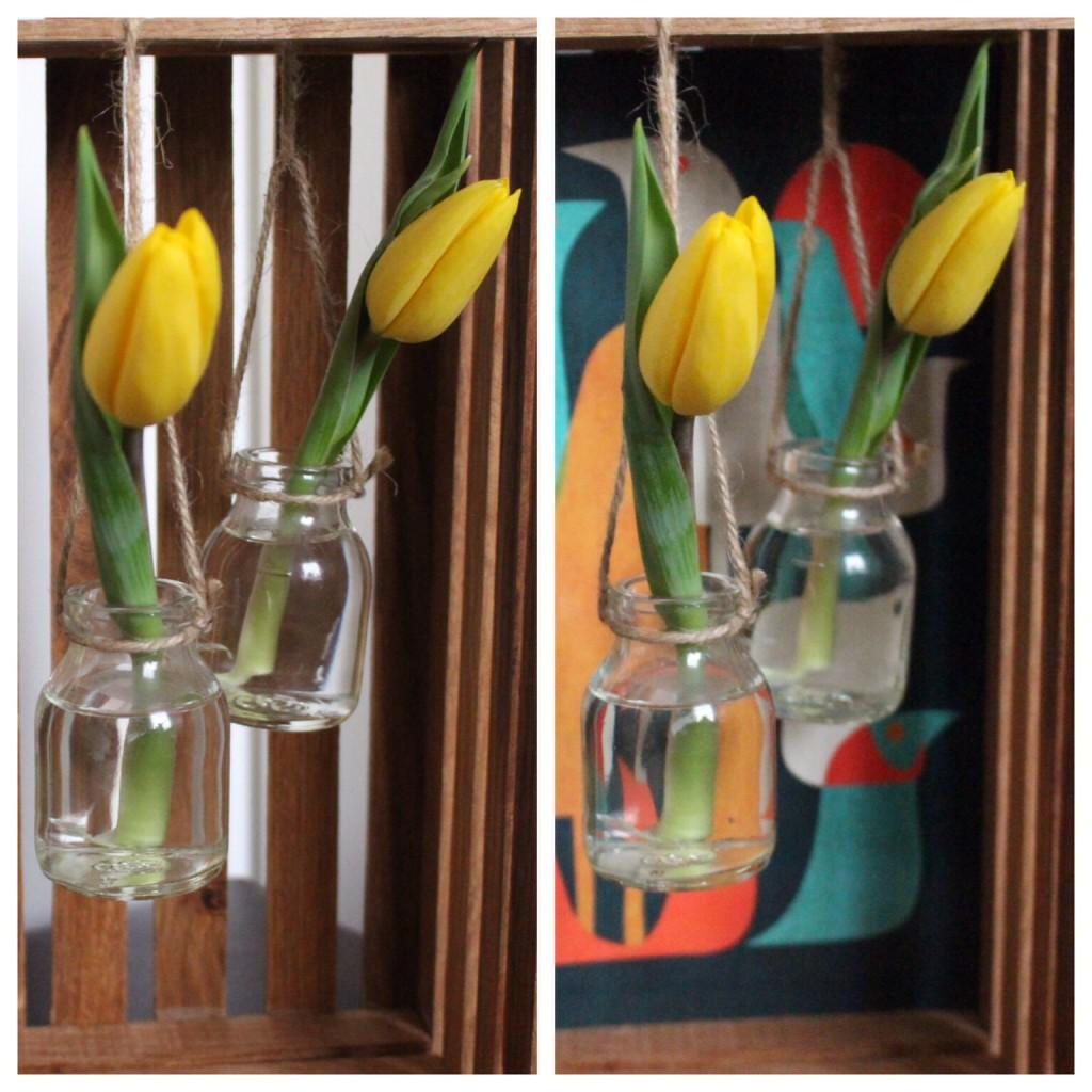 Frühlingsdeko Vasen Holzrahmen Holzkiste
