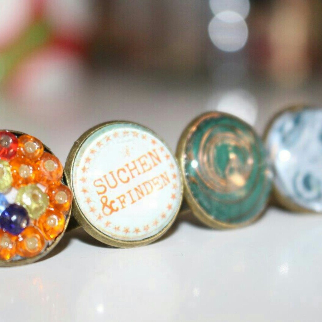 Ring selbstgemacht DIY Kupfer glas