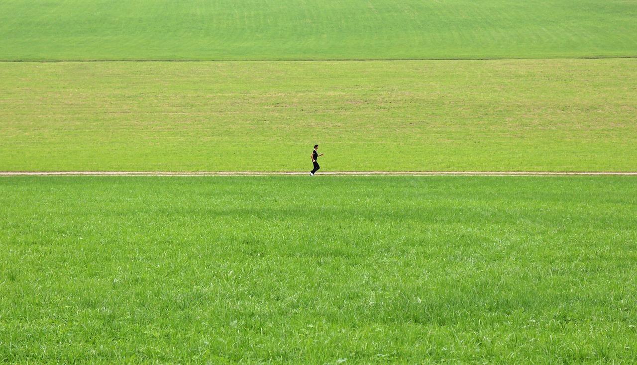 joggen laufen allein im grünen