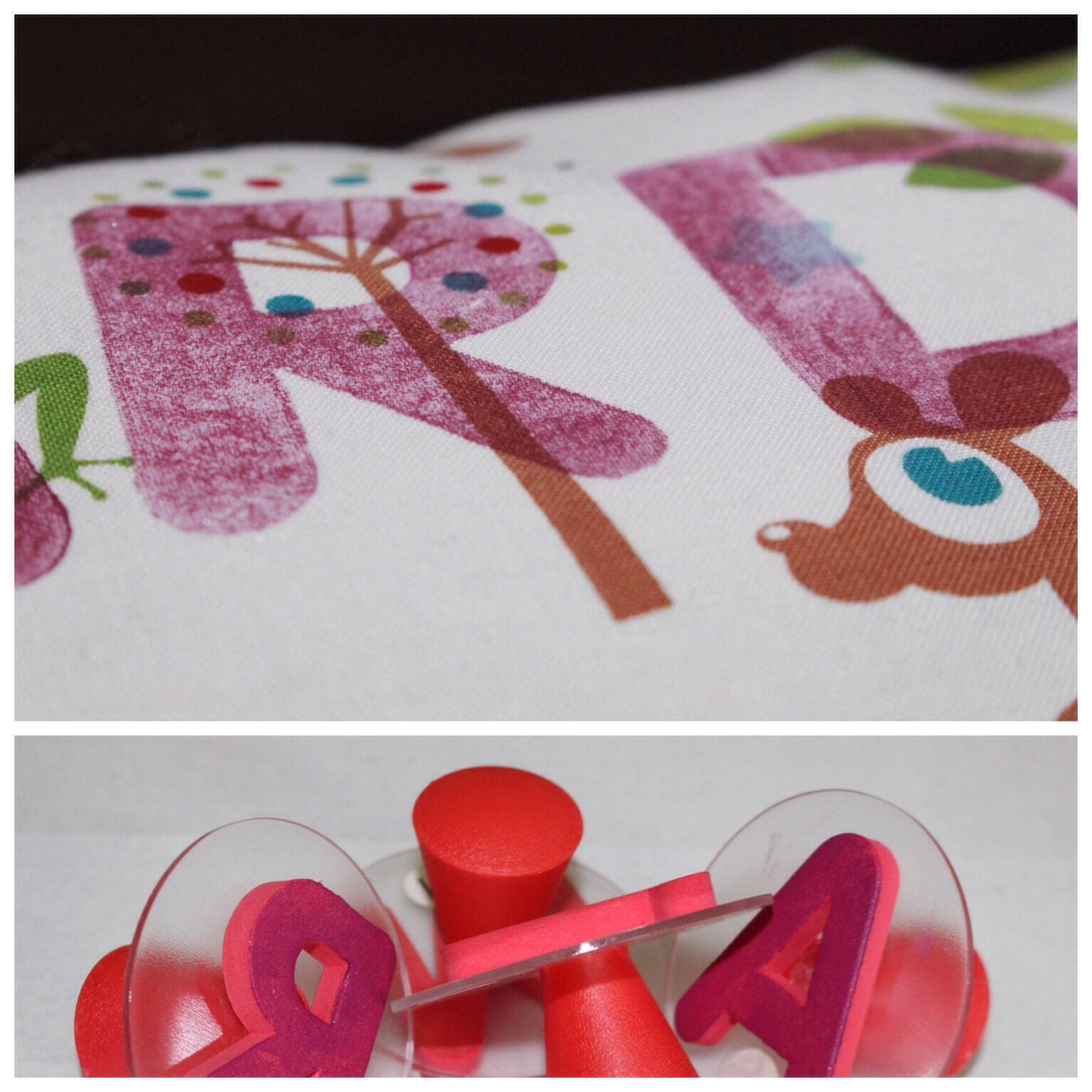 Kissen mit Namen gestempelt Stofffarbe